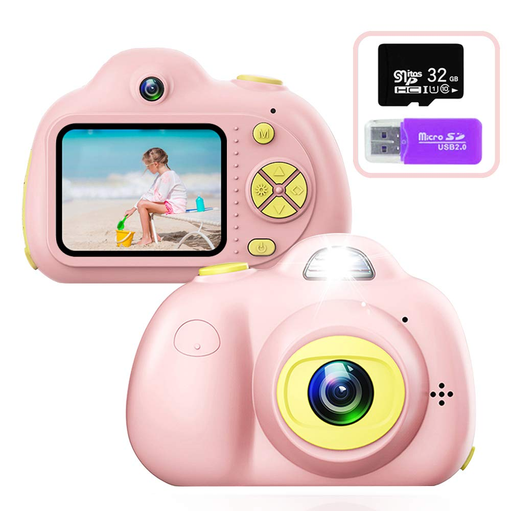 PerfectPromise Kids Toys Camera for Girls Boys,8MP Front and Back Camera 1080P HD Video Recorder Digital Camera for Children Girl Boy Gifts-Pink(32G TF Card Included)