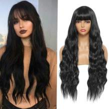 Sylhair Long Curly Wig with Bangs 30 inch Synthetic Black Wavy Wigs for Women Heat Resistant Fiber Wigs for Daily Use Natural Looking (1B)…