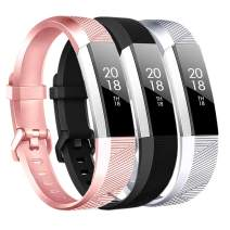 Baaletc Replacement Bands Compatible Fitbit Alta HR/Alta/Ace, Classic Accessories Band Sport Strap for Fitbit Alta HR Small Rose Gold/Black/Silver 3pcs
