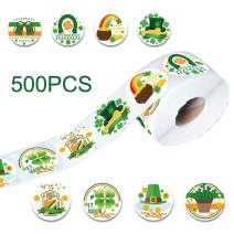 Debispax 500Pcs St Patricks Day Stickers Green Shamrock Roll Stickers 8 Patterns Adhesive Label for Gift Party Parade Decoration