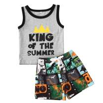 2 Pcs Baby Boys Summer Clothes Set Sleeveless Tank Top and Shorts Set Funny Letters Print Outfit