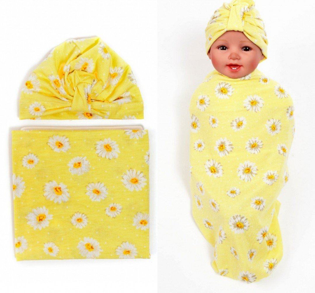 Quest Sweet Newborn Baby Swaddle Receiving Blanket with Beanie Hat Set of 2