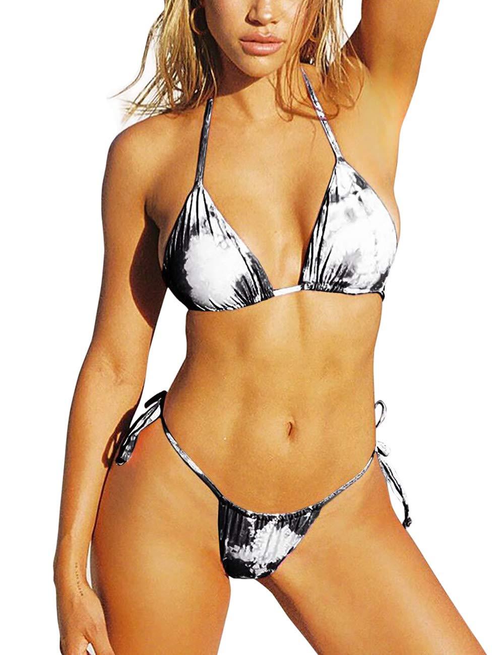 KUANGDUO Womens High Cut Swimsuits Printing Bikini Sets Two Pieces Swimwear Tie Knoted Bathing Suit