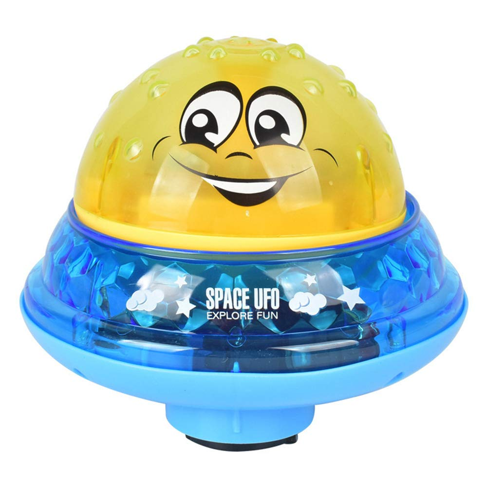Yidarton Bath Toys Spray Water Toy with Music & LED Light Automatic Induction Sprinkler Bath Toy for Toddlers (Yellow + Blue Base)