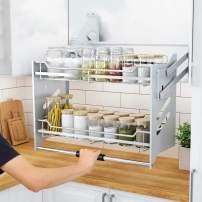 WHIFEA Pull-Down Dish Rack System, Kitchen Shelf 2 Tier Upper Cabinet Organizer (For Cabinet Width ≥36'')