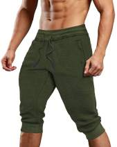 Bbalizko Men's 3/4 Cotton Joggers Casual Workout Elastic Waist Gym Running Shorts with Pockets