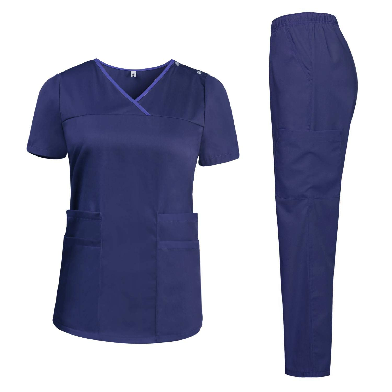 Aibrou Scrubs for Women Set Multi Pocket Uniforms Medical Scrub Tops and Pants