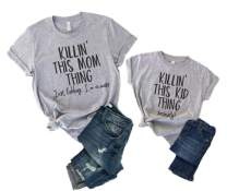Mother and Me Short Sleeves Letters T-Shirt Mommy and Daughter Matching Shirts