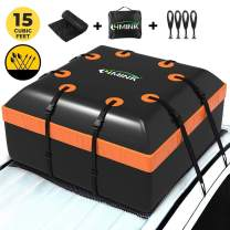 LIMINK Car Roof Cargo Carrier Bag 15 Cubic Feet Rooftop Bag PVC Coated Waterproof Zipper with Anti-Slip Mat 8 Reinforced Straps 4 Door Hooks, for Any Car