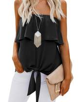 Womens Ruffle Tie Front Tops Off The Shoulder Chiffon Sexy Tiered Flowy Blouse Shirt