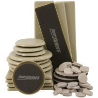 Supersliders 4912895N Assorted Size and Shape Value Pack,  Reusable and Self-Stick Furniture Sliders and Felt Pads to Protect Flooring Surfaces, Linen (52 Pieces)