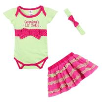 LittleSpring Baby Girls Clothes Set 3 Pcs Romper and Skirt with Headband