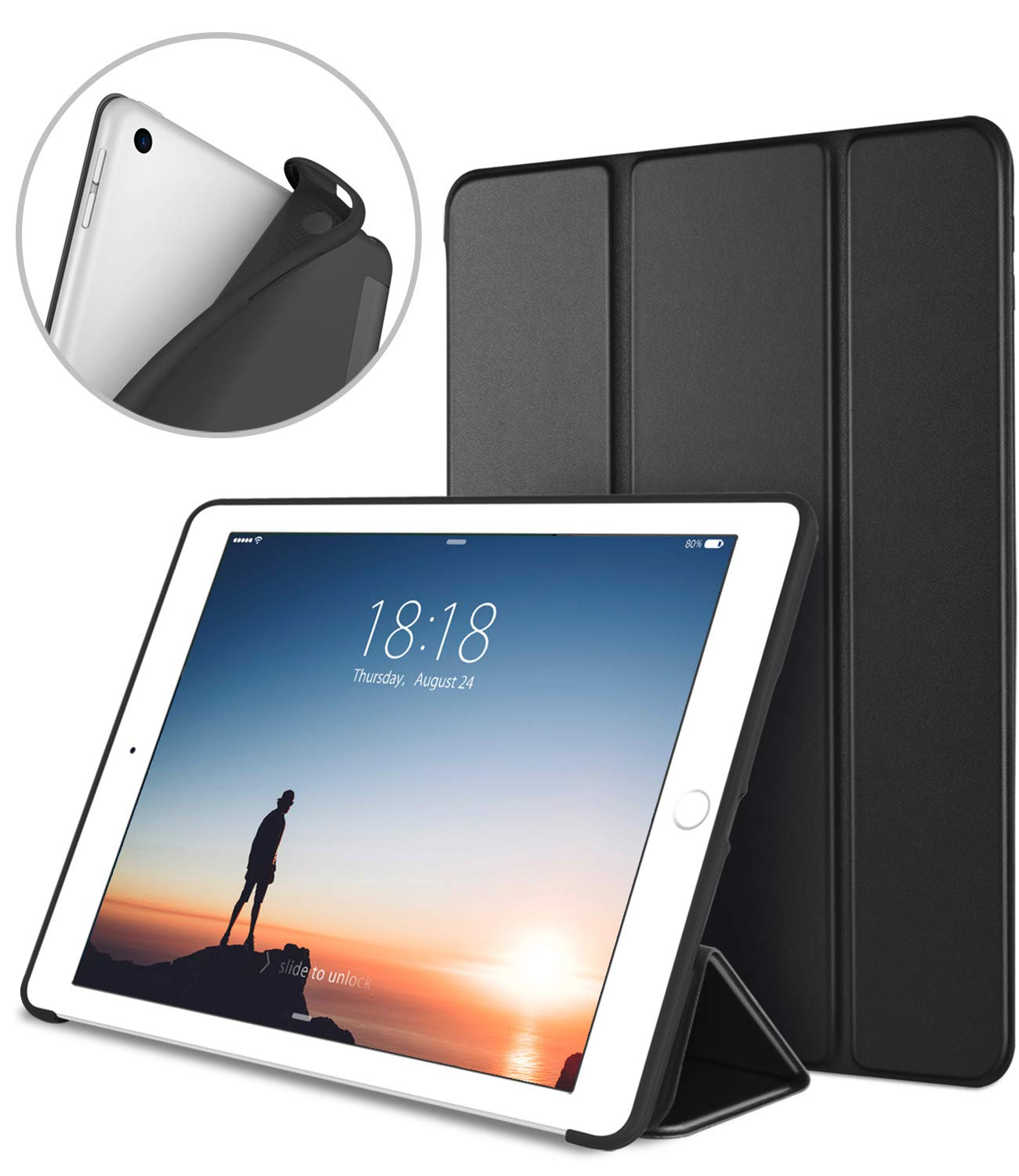 DTTO iPad 9.7 Case 2018 iPad 6th Generation Case/2017 iPad 5th Generation Case, Slim Fit Lightweight Smart Cover with Soft TPU Back Case for iPad 9.7 2018/2017 [Auto Sleep/Wake] - Black