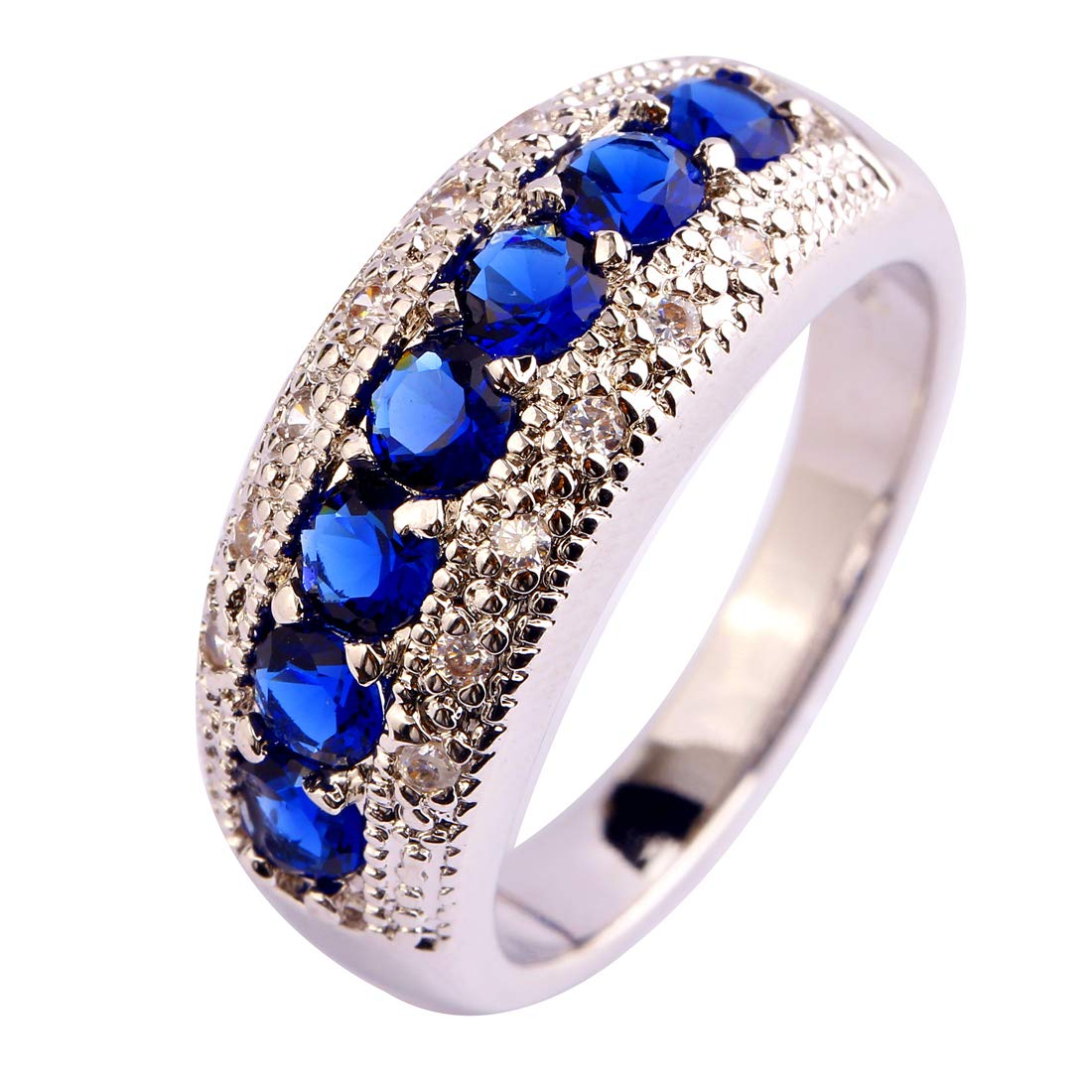 Narica 925 Sterling Silver Plated Sapphire Quartz Ladies Eternity Love Cocktail Ring Wedding Band CZ Sizes 8