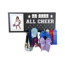 Cheerleading Gift - NO Fear All Cheer - Cheerleader Wall Hanger to Display All Awards and Ribbons on The Wall - Medal Holder