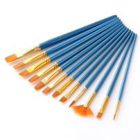 AOOK Artist Paint Brushes Superior Hair Artists Flat Round Point Tip Paint Brush Set for Watercolor Acrylic Oil Painting Supplies (12 New)