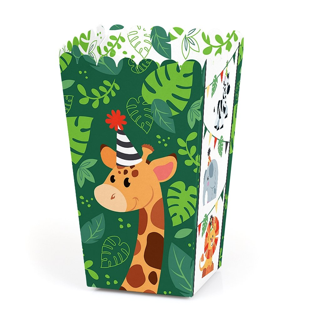 Jungle Party Animals - Safari Zoo Animal Birthday Party or Baby Shower Favor Popcorn Treat Boxes - Set of 12