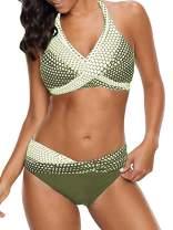 Abardsion Womens Bathing Suits Polka Dot Print Criss Cross Bandage Padded Halter Bikini Two Piece Swimsuits
