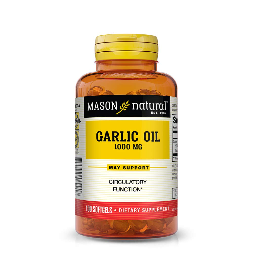 Mason Natural, Garlic Oil, 1000 Softgels, 100 Count Bottle (Pack of 3), Herbal Dietary Supplement Supports Healthy Cholesterol, Blood Pressure, Heart and Immune Functions