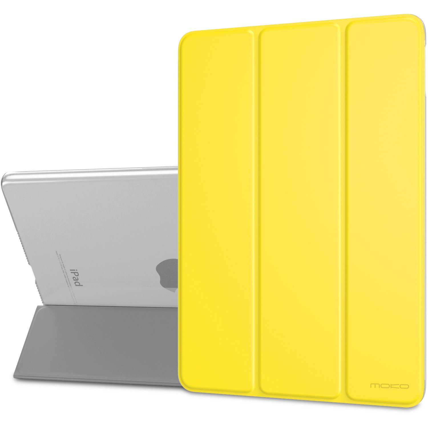 """MoKo Case Fit New iPad Air (3rd Generation) 10.5"""" 2019/iPad Pro 10.5 2017 - Slim Lightweight Smart Shell Stand Cover with Translucent Frosted Back Protector - Lemon Yellow (Auto Wake/Sleep)"""