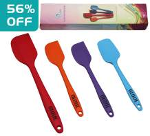 GLOUE 450oF Heat-Resistant Baking Spoon & Spatulas - Ergonomic Easy-to-Clean Seamless One-Piece Design - Nonstick - Dishwasher Safe - Solid Stainless Steel-Multicolor