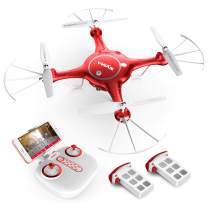 SYMA X5UW WiFi FPV 720P HD Camera Quadcopter Drone with Flight Plan Route App Control and Altitude Hold Red
