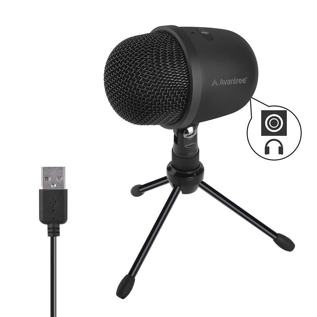 Super Clear Condenser USB Microphone with Live Monitoring for Computer, Laptop, MAC, Windows PC Recording Streaming Podcasting Skype Gaming, 3.5mm Audio Output, with Tripod Stand - Avantree 3001