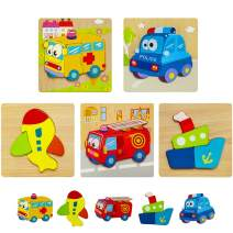 HZONE Wooden Jigsaw Puzzles for Toddlers, (5 Pack) Early Educational Toys Gift for Boys and Girls with 5 Vehicle Patterns, Bright Vibrant Color Shapes