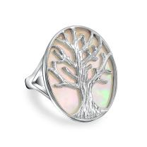 Large Statement Iridescent Oval Abalone Rainbow White Mother of Pearl Family Wishing Tree Of Life Ring For Women Wife
