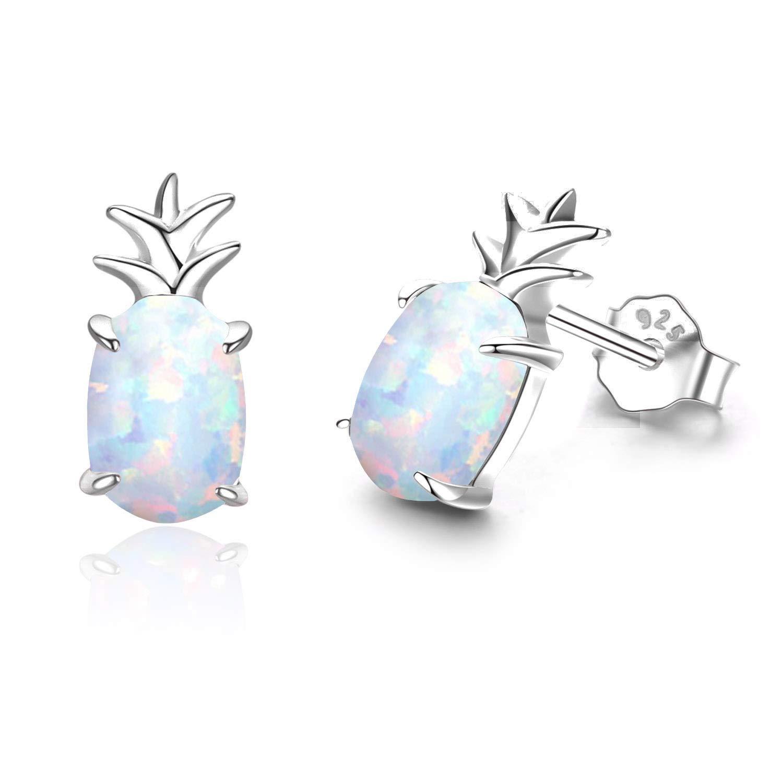 Hypoallergenic Unicorn Earrings S925 Sterling Silver Animal Earrings Synthetic Opal Stud Cute Birthday Gift for Her