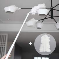 Microfiber Duster Telescoping Feather Hand Duster Extension Pole for Cars, Ceiling Fans, Furniture, Blinds, Delicate Surfaces Washable Lightweight Include One Extra Duster Refill with Cleaning Cloth