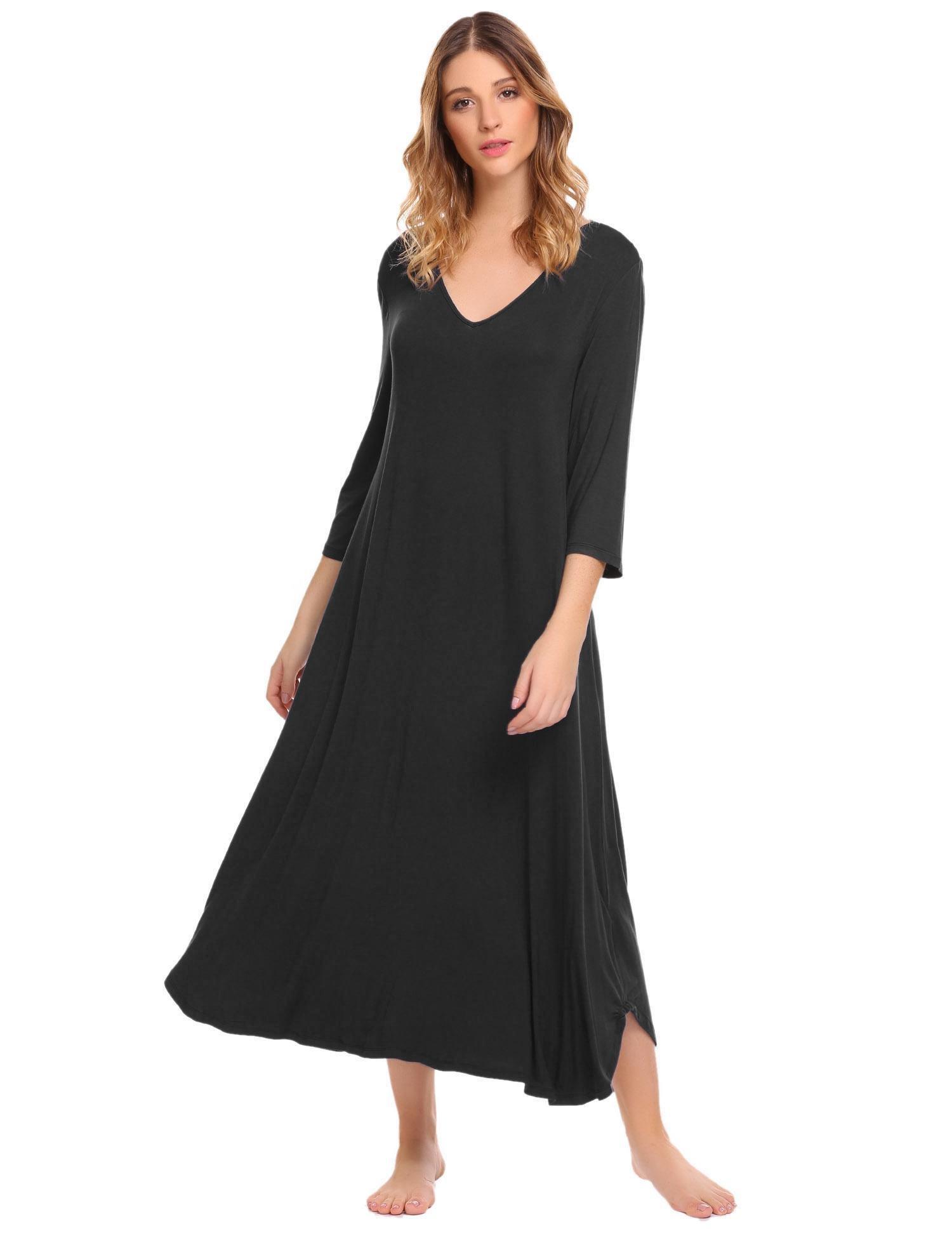 Ekouaer Women's Nightgown V Neck Nightshirt Full Slip Chemise Under Dress Sleepwear (Black, L)