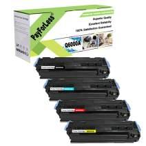 PayForLess Q6000A 124A Toner Q6001A Q6002A Q6003A Toner Cartridge Replacement 4PK for HP Color Laserjet hp 2600N hp 2605DN hp 2600 CM1015 CM1017 Printers with Chip