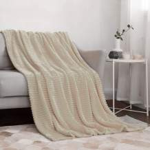 """MIULEE Fleece Throw Blanket with Stripe Pattern Fuzzy Flannel Beige Blanket for Couch Plush Warm Cozy Bed Blanket Boho Decor for Bed Sofa Chair Twin Size 60""""x80"""""""