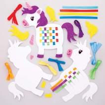 Baker Ross Rainbow Unicorn Weaving Kit (Pack of 6) AW630, Ribbon and Template Pattern Designs for Children