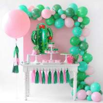 """GIHOO Balloon Garland Kit Pink Green Arch Giant Cactus Balloon 36"""" Pink Round Balloon 80pcs Latex Balloons with Paper Tassels for Birthday Party Baby Shower Decoration Supplies (Green and Pink)"""