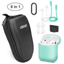 Airpods Case,Airpods Accessories Set, Likday 8 in 1 Silicone Case Cover Set for Airpods 2 &1 with (Strap,Holder, Earhooks, Earphone Case, EVA Hard Shell Box, Carabiner) (Black Box & Green Case)
