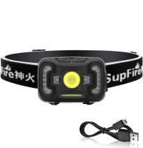 Supfire Headlamp,USB Rechargeable Head Lamp,COB Headlamp 500 Lumens Ultra Bright Cree LED Head Flashlight,Built-in Battery,Comfortable Elastic Headband,Motion Sensor,with Red Light for Running Fishing