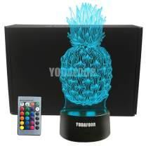 YODAFOOR Night Lights for Kids Pineapple 3D Night Light Gifts Bedside Pineapple Decor Lamp 7 Colors Changing with Remote Control Best Birthday Gifts for Boys Girls Kids Baby (Pineapple)
