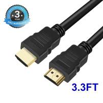4K HDMI to HDMI Cable 3.3FT High Speed for Computer TV Video Cables Supports 4K@60HZ, 1080p FullHD, UHD, Ultra HD, 3D, High Speed with Ethernet for UD22 UD12 TV4BOX TV9BOX, M04