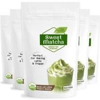 Sweet Japanese Matcha Latte Green Tea Powder – Latte Grade 12oz – 5 pack – Made with USDA Organic Matcha