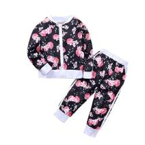 Toddler Baby Girl Winter Clothes 2PCS Floral Bomber Jacket and Pants Outfits Set