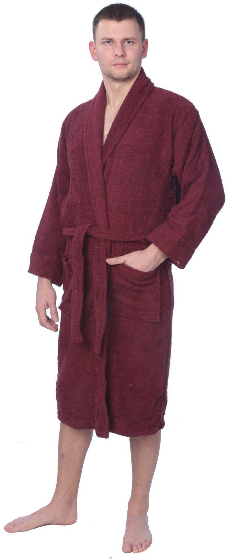 Men's 100% Cotton Shawl Collar Robe Terry Cloth Bathrobe Available in Plus Size
