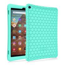 Fintie Silicone Case for All-New Amazon Fire HD 10 (7th and 9th Generations, 2017 and 2019 Releases) - [Honey Comb Series] [Kids Friendly] Light Weight Shock Proof Back Cover, Mint Green