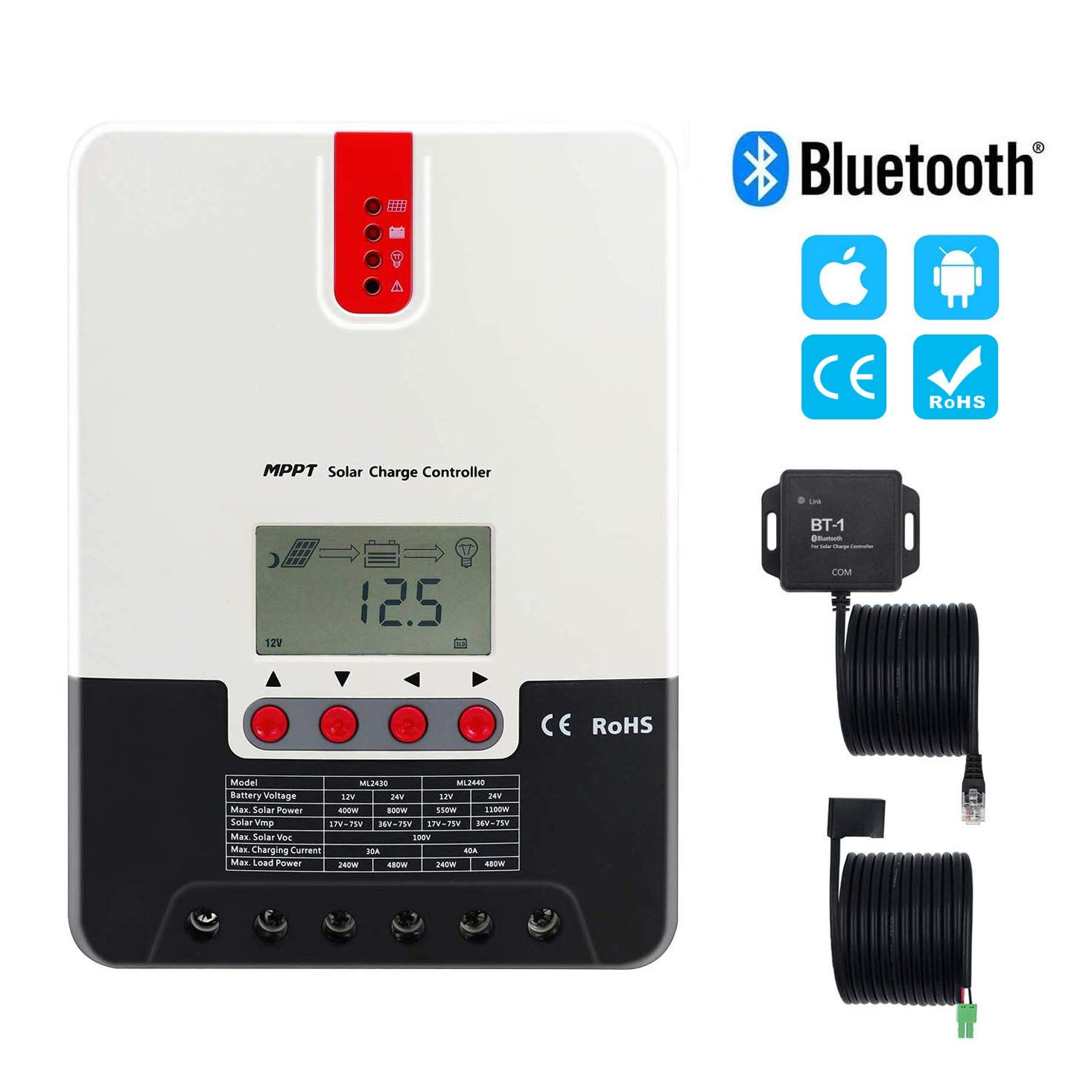 PowMr MPPT Charge Controller 40 amp 12V 24V AUTO - Max 100V 1100W Input Solar Charge Regulator for Lithium, Sealed, Gel, Flooded Battery with Bluetooth Module Programmable LCD Display