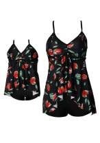 OMZIN Mommy and Me Halter Ruffle Swimsuit Leaf Print High Waisted Adjustable Straps Family Matching Bikini Set