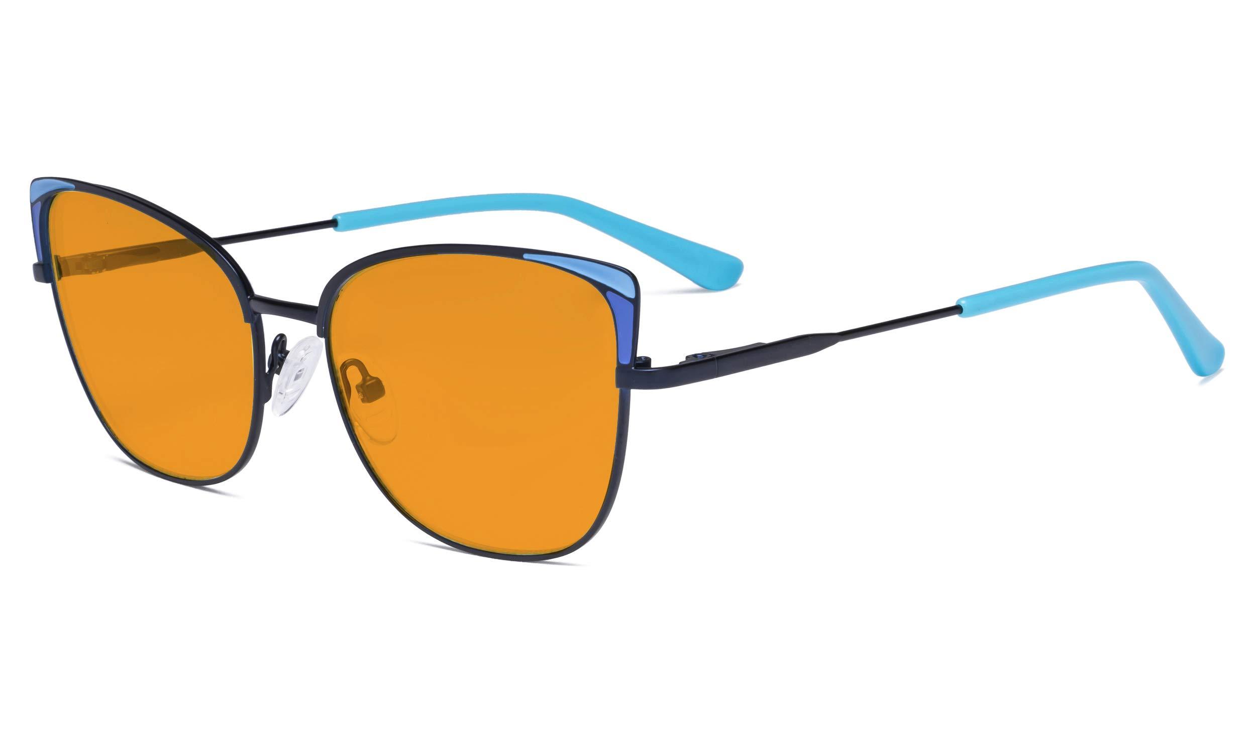 Eyekepper Ladies Oversized Blue Light Blocking Glasses - Butterfly Design Computer Eyegalsses Women Anti Screen UV Rays - Cut Digital Glare Filter Reduce Eye Strain Orange Tinted Filter - Blue
