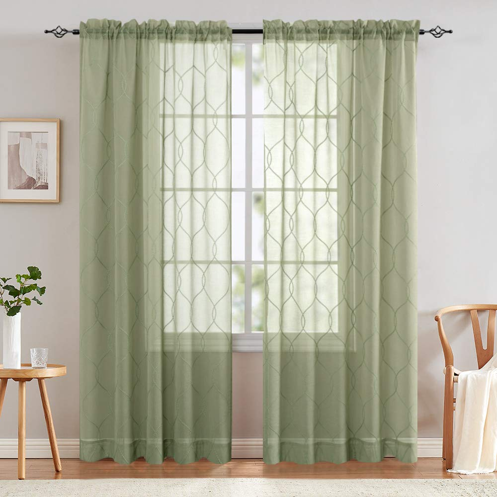jinchan Sage Sheer Curtains for Living Room Embroidered Wavy Diamond Window Curtains Sheer Window Curtain for Bedroom Drapes 1 Pair 95 Inch