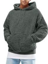 Mens Hoodie Sherpa Fleece Color Block Sweatshirts Fuzzy Long Sleeve Fall Outwear Winter Hooded with Kangaroo Pockets
