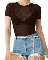 MANGOPOP Women's Long Sleeve/Short Sleeve Glitter Sheer Mesh Tops T Shirt Blouse Clubwear